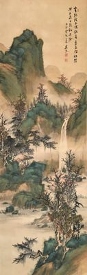 Large handpainted scroll painting signed/sealed by Teshima Goto 手島呉東 (1862-1936) - 'Waterfall in a mountain landscape' - (201cm)  - Japan - ca. 1920