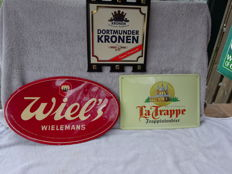3 Advertising signs tin / metal / plastic - Trappist, Wiels, Dortmunder - various periods