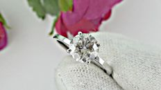 1.64 round diamond ring made of 14 kt white gold - size 6.5