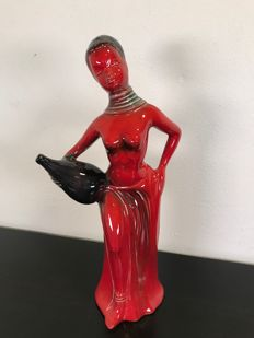 Beautiful blood red porcelain figurine by Jema - Holland, ca. 1960