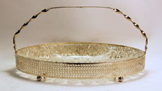 Vintage Silver Plate and Glass Bonbon Dish, C.1950's