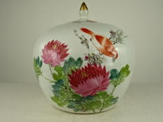 Antique porcelain jar with lid - China - around 1930