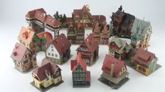 Vollmer/Faller/Pola/Kibri/Heljan Scenery H0 - 14-piece scenery package for an alpine village with timber-frame houses incl. a station and haunted house