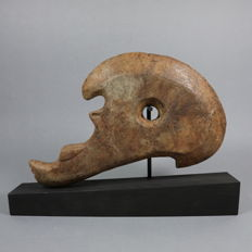 Ceremonial stone skull hacha - 260 mm