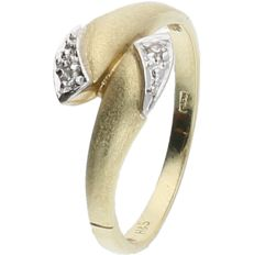 14 kt - Yellow gold ring set with 2 brilliant cut diamonds, approx. 0.01 ct in total - ring size: 17.25 mm