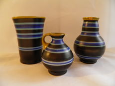 Plateelbakkerij Zenith - Lot with 3 vases, decor Landhuis