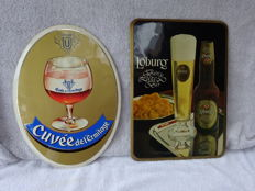 2 Advertising signs cardboard / plastic - Cuvée Bier and Loburg Bier - 1975-1981
