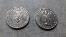 The Netherlands - 1 Guilder 1897 and 1898 Wilhelmina - silver