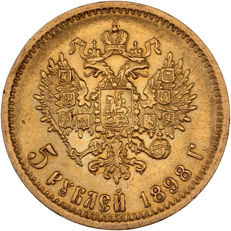 Russia - 5 Roubles 1898 - Nicholas II - gold