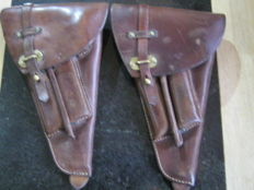2 x WW2 Lahti or Lugar leather holsters with & tools