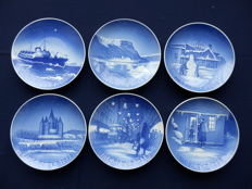 Collection of 6 special Christmas plates from Copenhagen porcelain - Denmark - rare