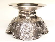 Silver candle holder, rose decoration