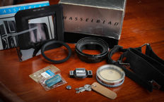 HASSELBLAD accessories rings, macro adapters, flash hot shoe, strap (lot of 10 items)