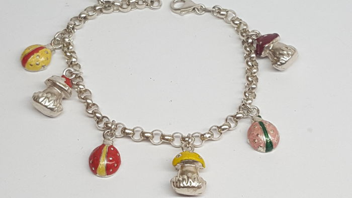 925 silver charm bracelet with silver charms painted with enamel, 18 cm