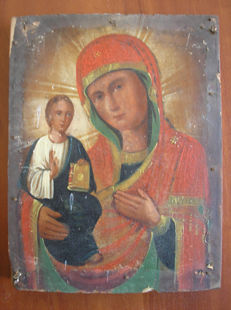 19 th century ortodox russian icon of virgin Mary Kazanskaja hand painted