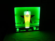 Original Heineken illuminated advertising - 2nd half 20th century - 40x40x7 cm - plastic