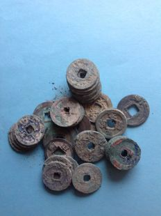 China - Over 150 g AE coins from many dynasties, including Western Han, - Song, Tang and others (over 150 grams)