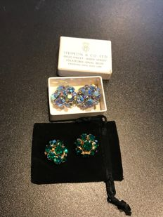 2 pairs of rare crystal set vintage Weiss earrings and vintage boxed