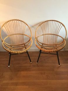 Unknown manufacturer - two rattan chairs with original cushions