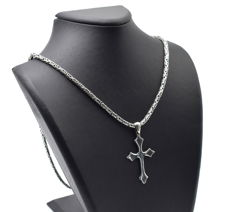 925 Italian sterling silver chain with Cross Pendant - 60 cm