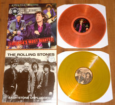 The Rolling Stones- Lot of 2 special releases: America's Most Wanted (Sticky Fingers live, CLEAR wax!) & Each Stone Unplugged (special collector's edition of 125 copies on yellow wax, nr. 10/125, low number!)