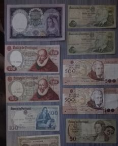 World - several ancient Portuguese banknotes, etc