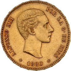 Spain - 25 Pesetas 1880 - Alfonso XII - gold