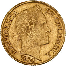 Colombia - 5 Pesos 1920 'Simon Bolivar' - gold