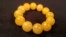Vintage Egg yolk colour modified Baltic Amber bracelet, 37 grams