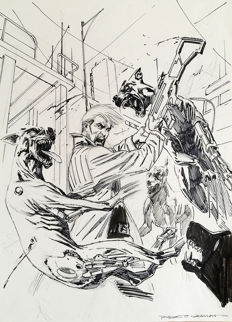 "De Angelis, Roberto - original study for a cover of ""Nathan Never"", special issue no. 23"