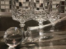 Richly carved Italian crystal - 3 crystal wine glasses with hand painted decanter.