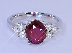 2.13 Ct 100% Natural Ruby with Diamonds ring NO reserve price!