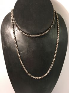 Vintage, long silver rope necklace - c. 1960