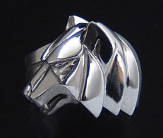 925 Sterling Silver Wolf ring - Cameron Designs - size 19