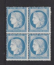 France 1873-25c brun type Emission Ceres, III Republic – Yvert 60C in block of 4