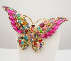 Signed JOAN RIVERS - Big Butterfly Brooch with Austrian crystals.