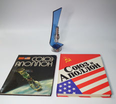 Two books about cosmonauts and Communication satellite model