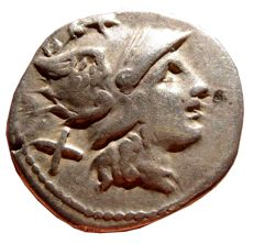 Roman Republic - Anonymous silver denarius (3,52 g. 19 mm.) Rome mint, 169-158 B.C. Griffin series. Beautiful example, rare!