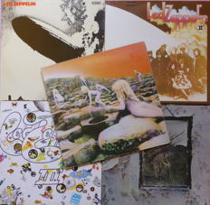 Five first original Led Zeppelin albums, Led Zeppelin I, II, III, IV and Houses of the Holy