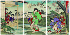 Collection of 11 Japanese art prints in triptychs