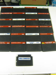 24 original sega master system games + one converter some very rare. games like: Shinobi, Back to the Future, Ghostbusters and more