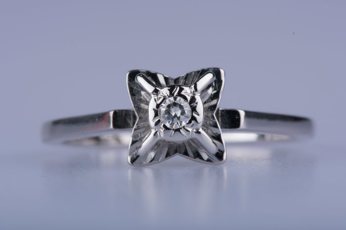 18 carats Or blanc - Bague Diamant