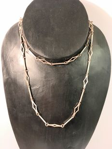 Vintage long silver rhombus necklace - approx. 1950