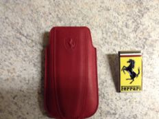 Ferrari Logo badge - 6 x 3.5 cm + red leather mobile phone pouch