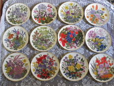Collection of 12 Franklin Mint porcelain flower plates - all months of the year