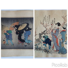 Two woodblock prints by Kitagawa Utamaro (1753-1806) and Ryuryukyo Shinsai (1799-1823) (reprints) - 'Two Geisha and A Porter in The Wind' and 'Two Women and an Attendant' - Japan - ca. 1920s/1880