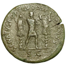 Roman Empire – TRAJAN (98-117) AE Dupondius, Rome, Emperor between 2 trophies