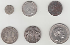 Germany - 1827/1939 6 different coins - 5 x silver