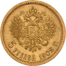 Russia - 5 Roubles 1902 - Nicholas II - gold