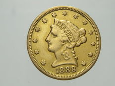 "Stati Uniti - 2 1/2 Dollari 1888 ""Liberty head""- oro"